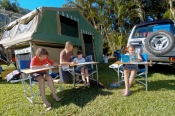 distance-learning;camping;campground;children-at-campground;children-studying