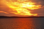 sunset;sunset-over-water;great-sandy-strait;fraser-island;hervey-bay;sunset-scenery;fiery-sunset;glowing-sunset