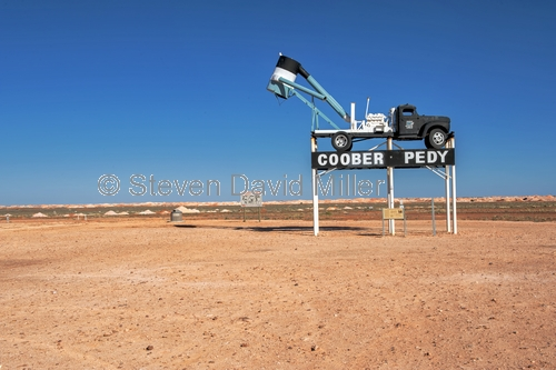 coober pedy;coober pedy picture;coober pedy mining truck;coober pedy sign;opal mining town;opal mining town of coober pedy;outback;australian outback;south australia;stuart highway town