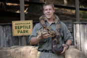 snake-demonstation;man-handling-snake;man-handling-python;australian-reptile-park;man-with-snake;man-with-python