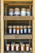 jams;preserves;baked-goods-in-jars;sauce-in-jar;display-of-jars;jar-display;jam-display;preserves-di