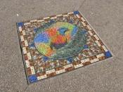brisbane;south-bank;mosaic;bird-mosaic;sidewalk;foot-path;sidewalk-art;foot-path-art;rainbow-lorikee