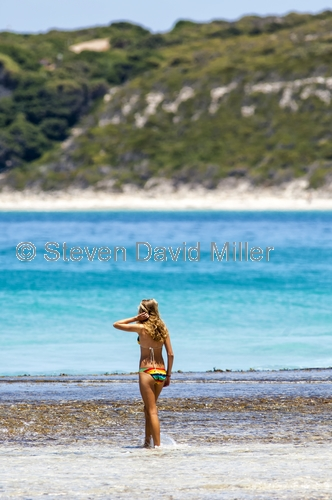 esperance;beach;esperance beach;the great southern;woman swimming;woman at beach;southern western australia;beautiful blue water