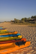 monkey-mia;kayaks-on-beach;colourful-kayaks;shark-bay;peron-peninsula;monkey-mia-dolphin-resort